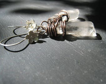 Hotel Del - Quartz Point Earrings Rough Stumps Copper Wire Wrapped Sterling Silver Wildflower Ear Wires Jane Plain Organic Roots Jewelry