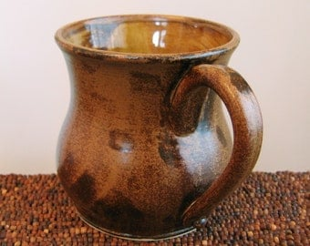 Huge Coffee Mug - Earthy Brown Large Stoneware  Pottery Ceramic Cup 22 oz. Gifts for Men, Pot Belly Mug