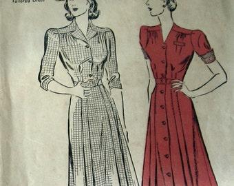 Vintage 1940s Womens Dress Pattern Fitted Button Front Dress Pattern Swing Era Dress Large Size Pattern Advance 2606 Sz 20