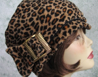 Womens Leopard Print Hat With Vintage Gold Tone Buckle Stylish Chemo Hair Loss Hat Bad Hair Day Hat Soft Knit Fabric Head Size 21-22 Inch