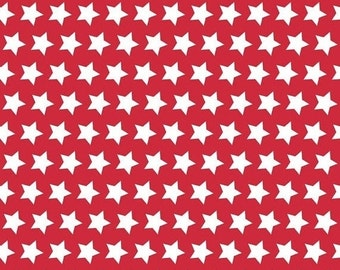 ON SALE Basic Stars White on Red - 1/2 Yard