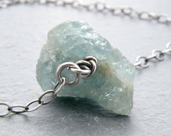 Raw Aquamarine Necklace, Rustic March Birthstone Jewelry, Minimal Aquamarine Necklace,  Sterling Silver, #4782