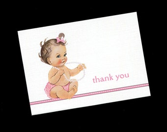 Baby Shower Thank You Cards - Baby Girl Thank You Cards - Blank - Note Cards - Baby Girl - Pink - Set of 20