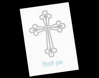 Thank You Card - Baptism - Christening - First Communion - Silver -  Cross - Boys - Blank Cards - Set of 20