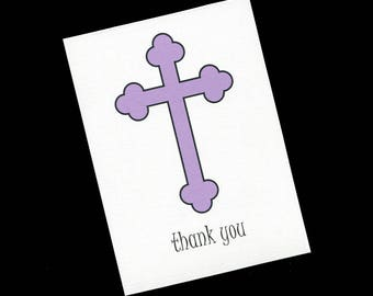 Communion Thank You Card - Baptism - Christening - First Communion - Purple Cross - Girls - Blank Cards - Set of 20