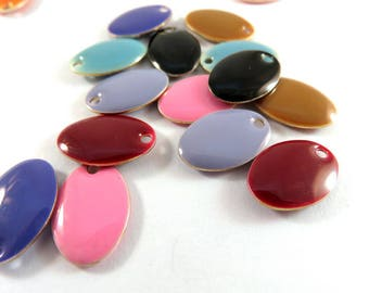 BOGO - 16 Assorted Enamel Oval Epoxy Bead Charm Drop 14x9mm - 16 Pc - MS11054-16 - Buy 1, Get 1 Free - No coupon required
