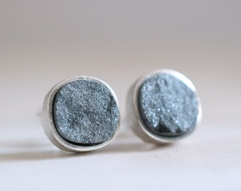 Gretel earrings. Sterling silver earrings with druzy Hematite. Hematite earrings, Hematite studs, Druzy Hematite studs, Druzy studs.