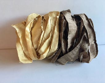 Silk Sari Ribbon-Recycled Golden Yellow & Brown Sari Ribbon-10 Yards