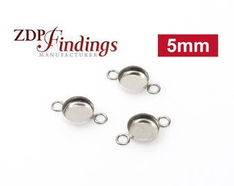 24pcs x Round 5mm Bezel Cups with 2 Loop Sterling Silver 925 (RD54)