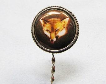 Enamelled fox stickpin on sterling silver