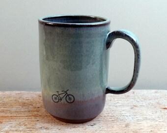 Tall Green and Purple Mountain Bike mug