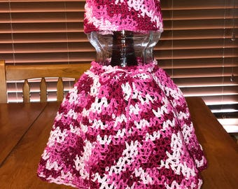 Crocheted Multi Pink Baby/Toddler Poncho Set