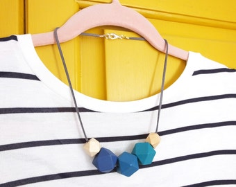 Hexagon Necklace, Blue Necklace, Geometric Necklace, Statement Necklace, Hexagon Jewellery, Geometric Jewellery, Geometric Style