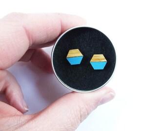Wooden earrings, Hexagon Earrings, Geometric Necklaces, Turquoise Earrings, Blue Earrings, Geometric Studs, Hexagon Studs