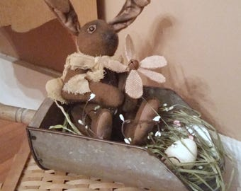 Rustic galvanized feed scoop -Berries, egg and a cute vintage bunny. Easter Spring Home decoration