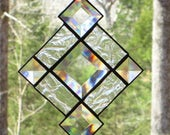 Small Stained Glass Suncatcher - Clear Crackle Glass Border with Bevels