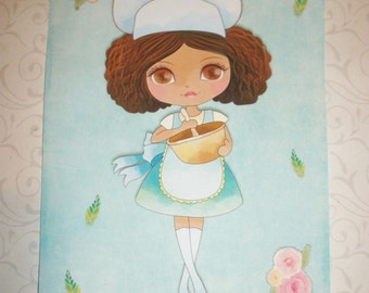 GIRL BAKERS - Set of 8 Note Cards - Envelopes Included - So adorable - Sweet Colors - BG 6560