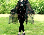Butterflies and Flowers on Sheer Black Chiffon--Ruana, Wrap, Cape, Coverup or Shawl-One Size Fits Most Gypsies