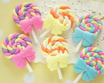 6 pcs Polymer Clay Lollipop Candy Cabochon (26mm39mm) 3 colors CD650