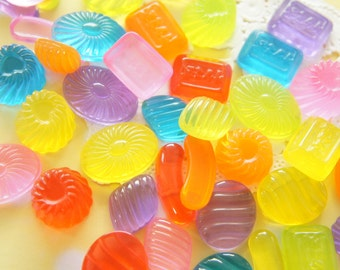 10 pcs Assorted Colorful Clear Candy / Jelly Cabochon (10-23mm) CD694 (((LAST)))