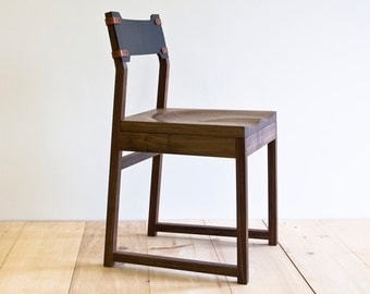 Tab Dining Chair - Black Walnut - Leather Back