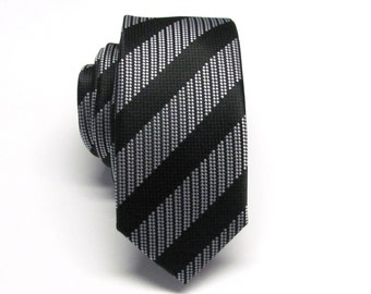 Mens Ties Skinny Tie. Black and Grey Stripes Skinny Necktie