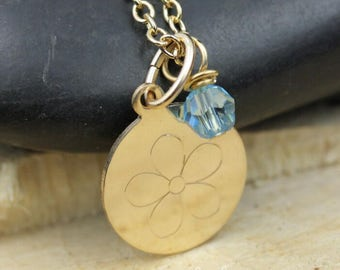 Engraved Flower Necklace 14kt Gold-filled with choice of Swarovski Crystal Birthstone Accent