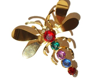 Vintage Coro Dragonfly Brooch Jewel Tone Rhinestones Insect Pin