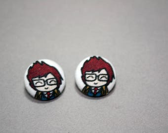 10th Doctor Button Earrings - Doctor Who Doodle - Post Fabric Covered Studs
