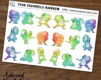 Squirrel Yoga Planner Stickers