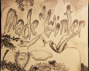 "Original graphite drawing - 8x8"" - ""Made of Winter"""