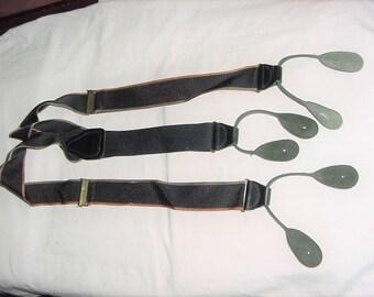Vintage 80's Black Leather Button Hook Suspenders Rust Gray Stripe