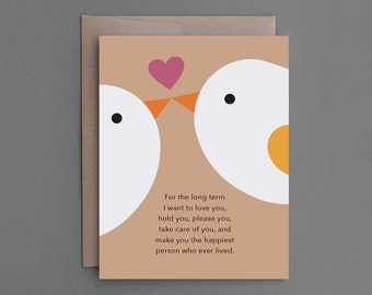 "Funny Anniversary Card. For Boyfriend, Girlfriend, Husband, Wife, Him, Her. Sexy, Naughty, Alternative. Birds, Nature. ""Long Short"" (CL001)"