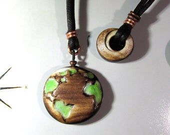 Earth necklace. Fully Adjustable, Reversible, two-in-one necklace