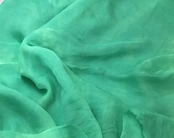 Hand Dyed SPEARMINT GREEN Soft Silk Organza Fabric - 1 Yard