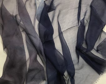 OMBRE Hand Dyed Silk GAUZE Chiffon Fabric Midnight Blue to Gray 1/2 Yard