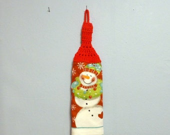 Looped Double Christmas Holiday Towel Hanging Crochet Top Snowman