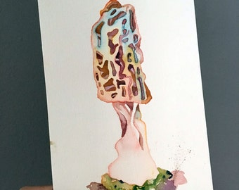 Watercolor Mushroom - Original Painting of a Mushroom - Watercolor Art of a Morel - Blonde Morel Painting - Mycology and Fungi Art