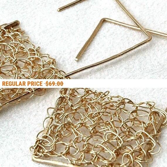 Holiday Sale - Geometric square wire crochet earrings large jewelry unique urban earrings geometric design statement jewellery