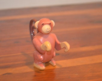 Vintage Fisher Price Little People Circus Zoo Brown Monkey