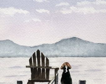 """Beagle Art Print """"Patiently Waiting"""" Signed by Watercolor Artist DJ Rogers"""
