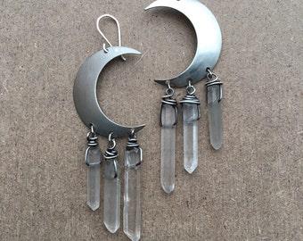 Moon Earrings Wire Wrap Healing Crystal Earrings Dangle Earrings Crescent Moon Daniellerosebean Drop Earrings Raw Crystal Jewelry