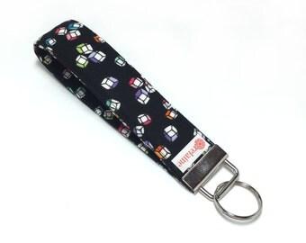 Colorful cubes keychain.  Key fob.  Key wristlet.  Key holder.  Fabric wristlet keychain.