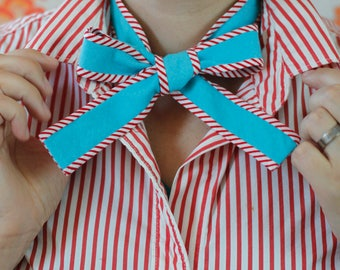 Striped pussy bow // teal and red bow tie for women // xoelle lady tie