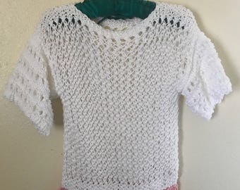 White Small Hand Knit Pullover Summer Sweater  Tummy Tickler,  Teen Young Lady