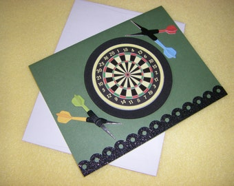 Dartboard and Darts Handmade Greeting Card, All Occasion Just Because Blank Card - colorful darts, black glitter, green card, bullseye