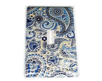 Light Switch Cover  Switchplate Switch Plate in  Navy Paisley  (272S)
