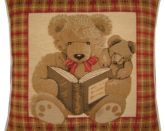 Red Teddy Bear Night Time Stories Woven Tapestry Cushion Cover Sham