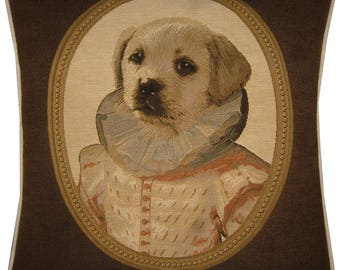 Thierry Poncelet Yellow Labrador Puppy Cream Coat Brown Frame Woven Tapestry Cushion Cover Sham