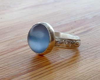 Blue Zircon Ring, Zircon Gemstone Ring, Blue Stone Ring, Silver round Stone Ring, Gemstone Ring
